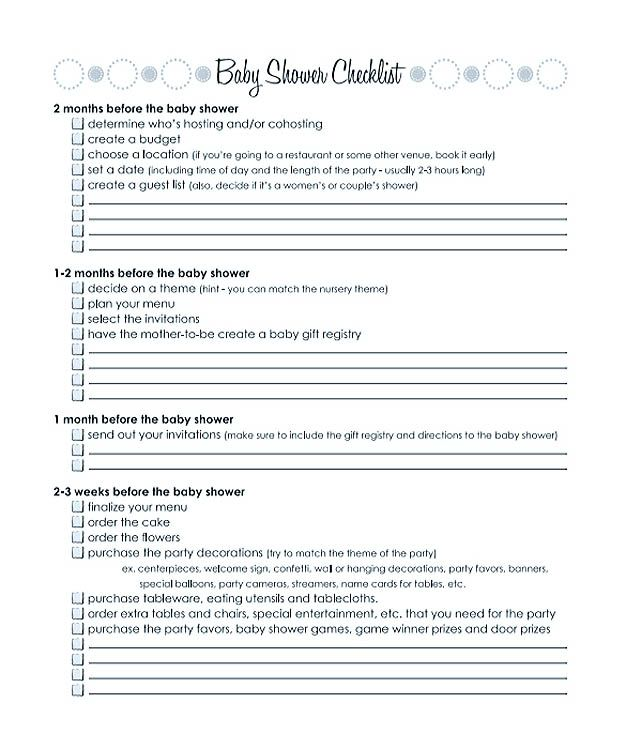 Months Baby Shower Checklist Template Printable  Checklist