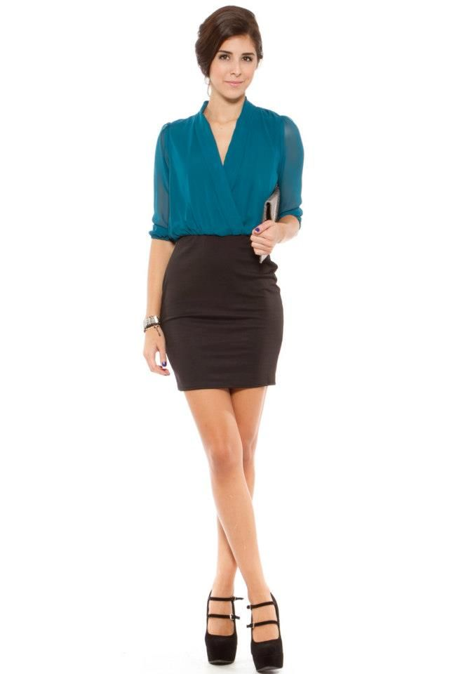 44505f7d73c business attire - teal 3/4 sleeve blouse top & black skirt | Style ...