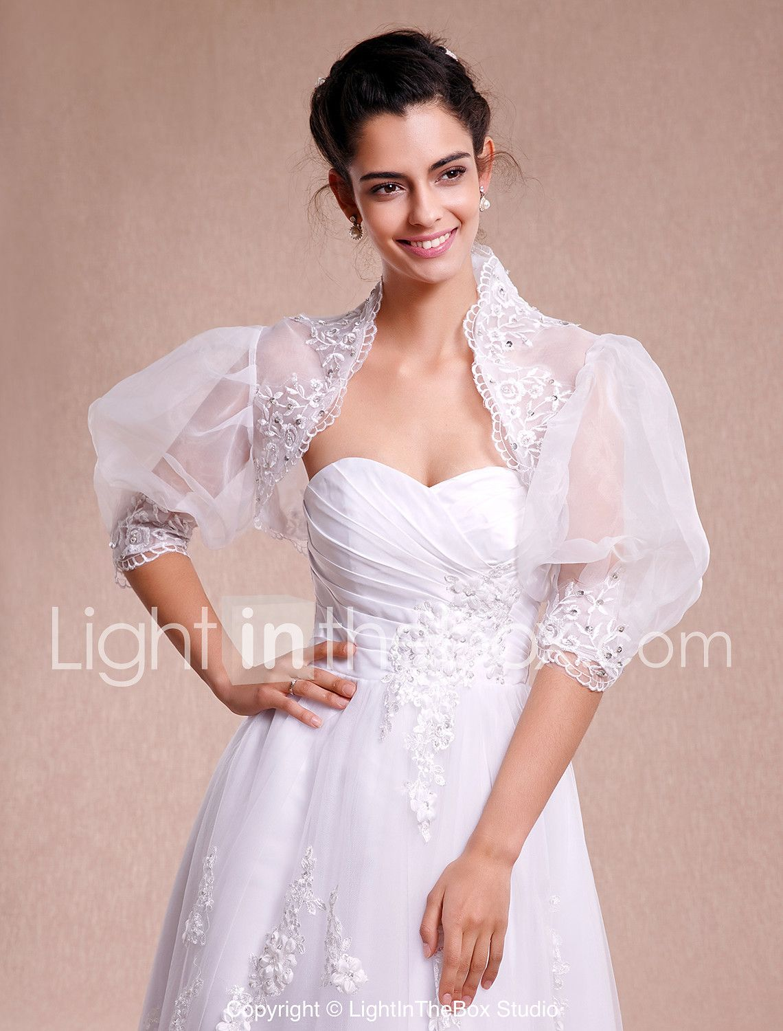 Lace Organza Wedding Party Evening Casual Wedding Wraps With Lace ...