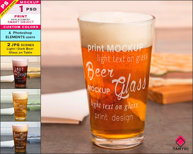 Beer Glass On Table Photoshop Print Mockup Blank Tumbler Etsy Beer Beer Glass Print Mockup