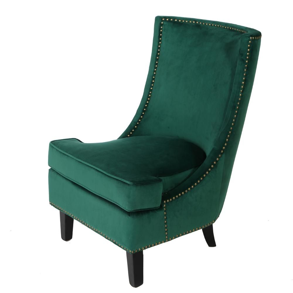 Noble House Carole Studded Dark Green Velvet Accent Chair