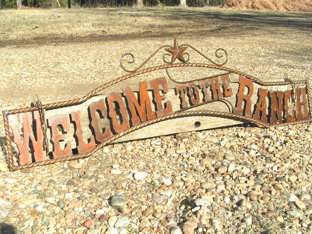LARGE Metal cutout letters Welcome to the RANCH Sign Wall r Entry ...