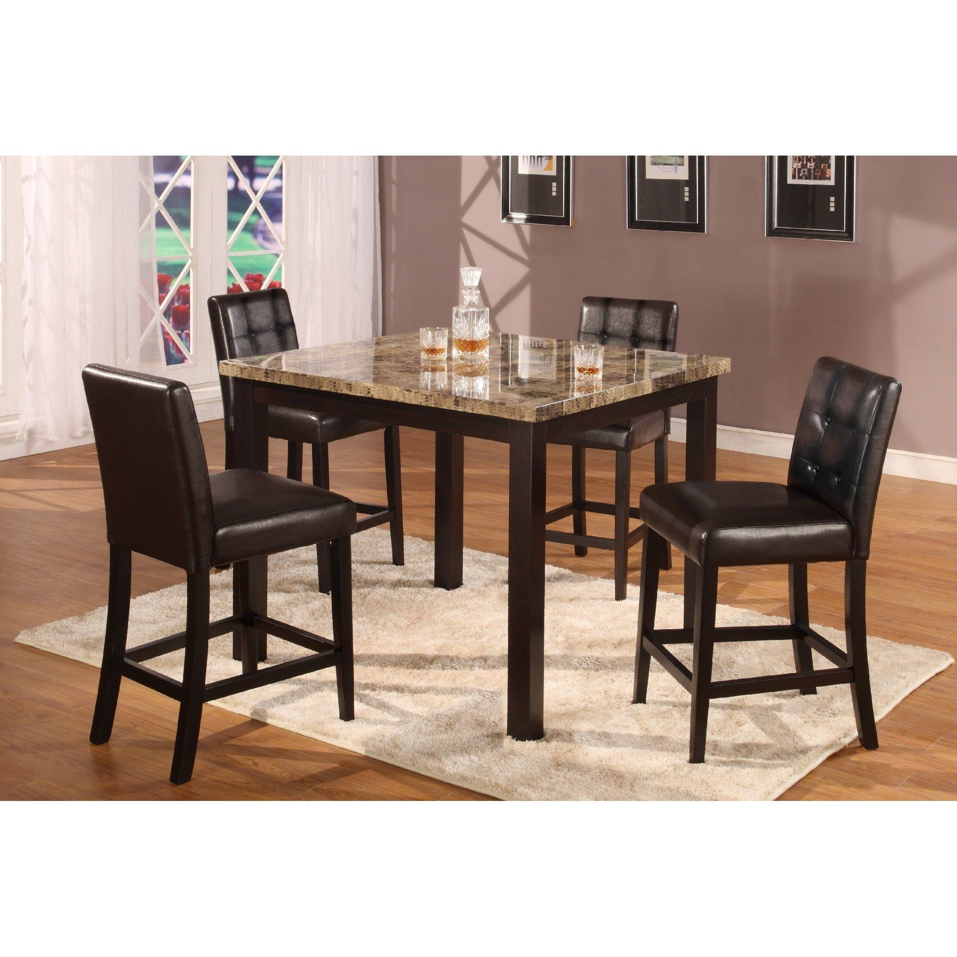 5pc Dark Artificial Marble Top Counter Height Dinette