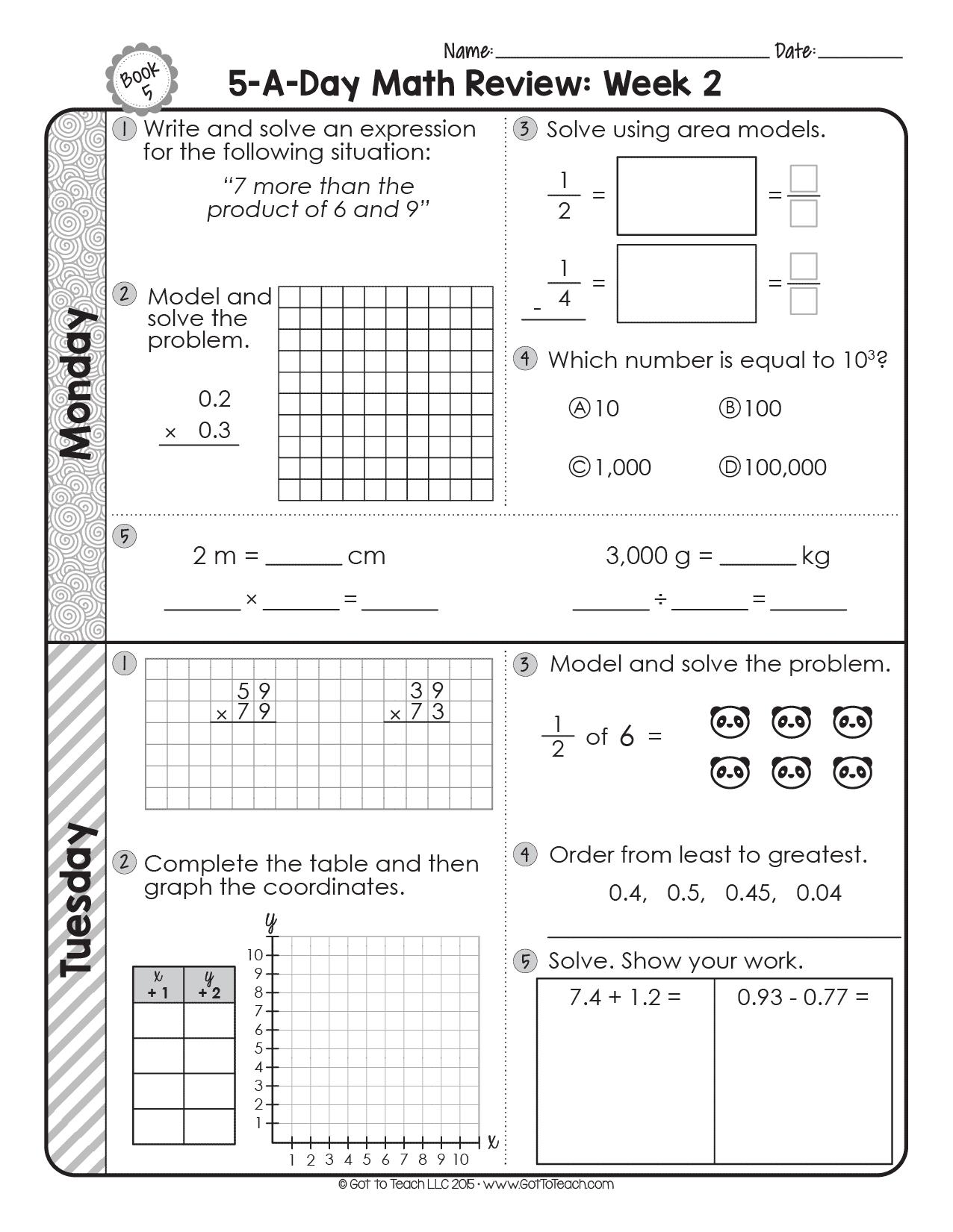 Free 5th Grade Daily Math Spiral Review Teacher Thrive Math Spiral Review Daily Math Spiral Math [ 1651 x 1276 Pixel ]