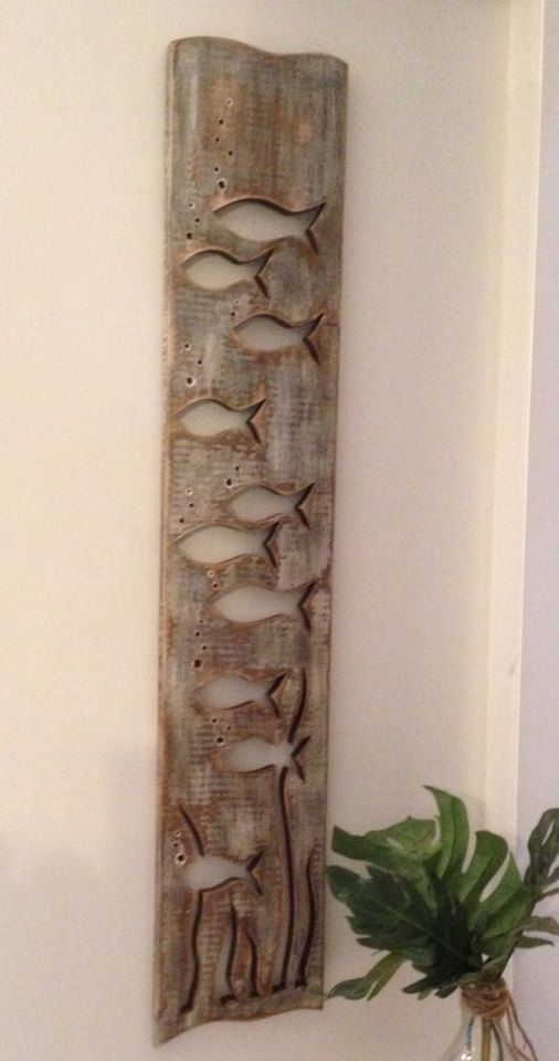 Grey Wood Art Fish School Sign Wall Decor Beach Lake House Cabin ...