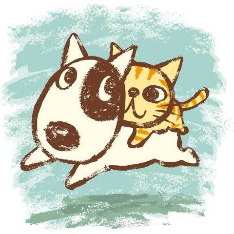 Bull Terrier And A Cat Illustration By Toru Sanogawa With