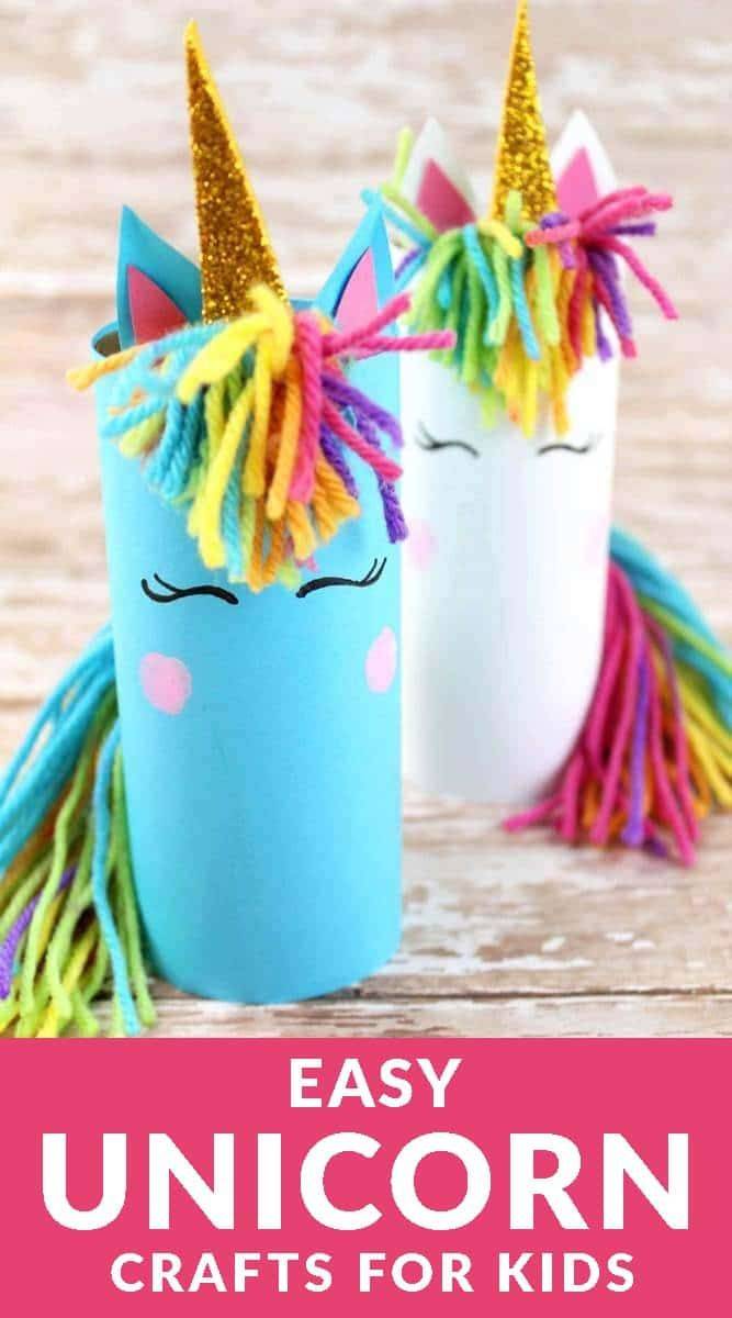How to make unicorn paper roll crafts. Click on the link to make your own magical unicorn art project. #unicorn #unicorncrafts #papercraft #craftsfirkids #papercraft #kidsactivities #kidscrafts #toiletpapercraft