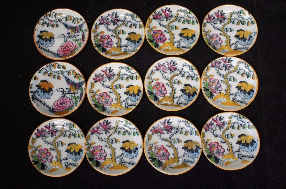 12 Antique Imari Style Hand Painted 19th Century Bone Dishes England Superb