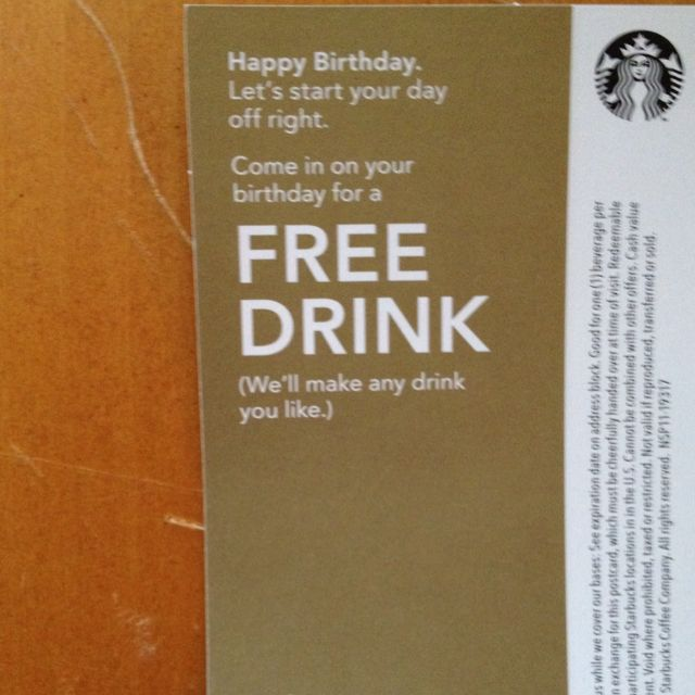Free drink from Starbucks for my upcoming birthday Products I