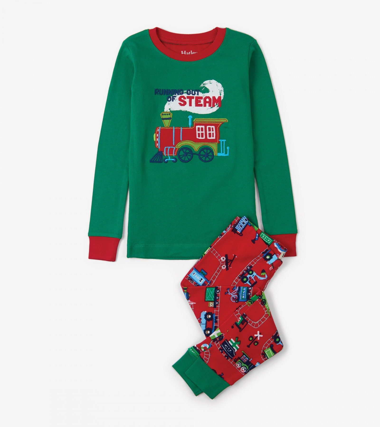 a48cd6dcf51c Magical Christmas Train Appliqué Organic Cotton Pajama Set ...