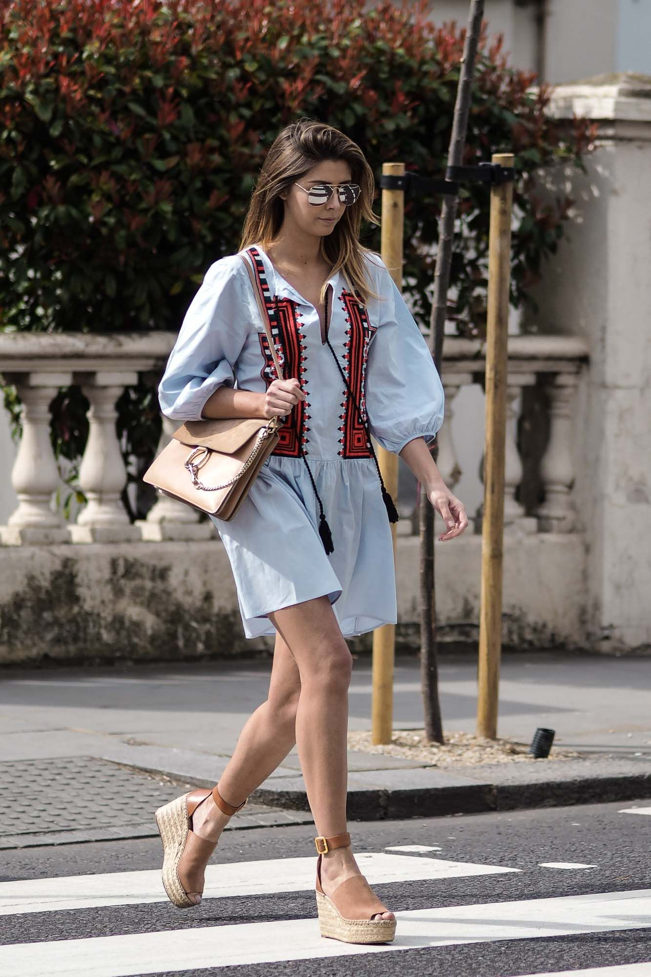 f8a4c0402 H&M Blue embroidered smock dress, Chloe Faye bag, Chloe suede wedge  espadrilles
