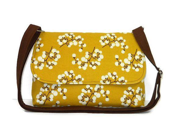 Small Messenger Bag For Women, Pussy Willow on Mustard Yellow Purse, Crossbody Bag, Cross Body Purse, Cotton Fabric Handbag, Pocketbook