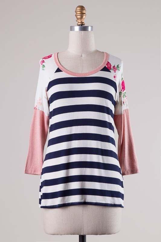 Floral Shoulder Stripe Top - 2 Options