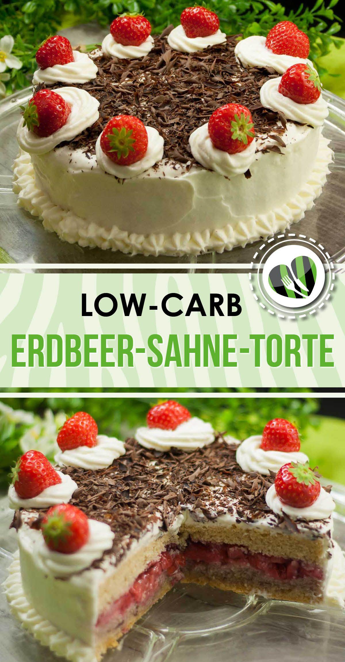 Die Erdbeer Sahne Torte ist eine leckere low carb Variante Das Rezept