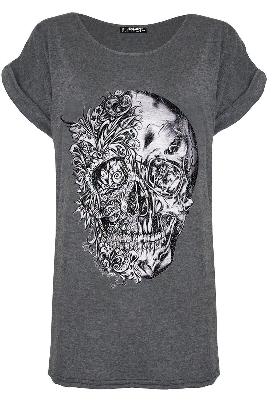 Women Black Party Short Sleeve Halloween Skeleton Skull Costume Tops Tee T-shirt