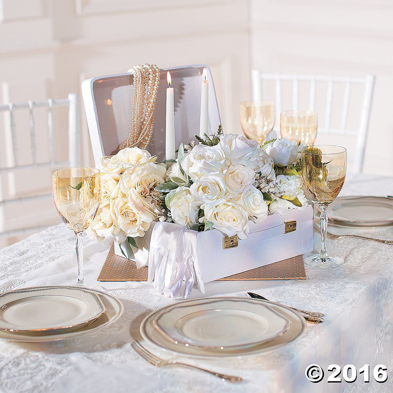 White Mini Suitcase Centerpiece wedding oct in 2019