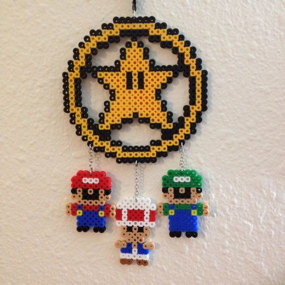 Mario inspired perler bead dreamcatcher by for Dreamcatcher beads meaning