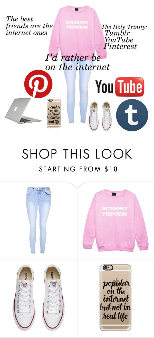 """The Best Friends are Internet Ones"" by photogeekgirl ❤ liked on Polyvore featuring Glamorous, Converse, Casetify and Speck"