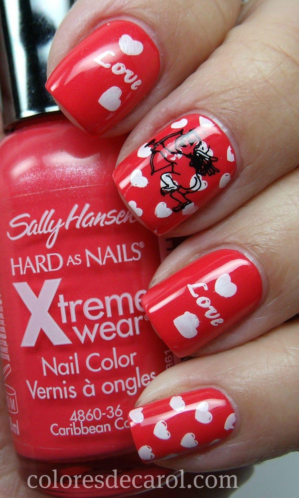 Easy Valentines Day Nail Art Ideas Art Nails Red Nails And Nail Nail