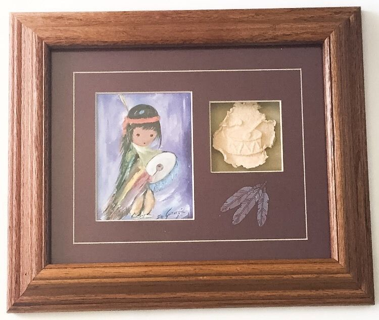 Degrazia Drummer Boy Framed Picture And Embossed Paper Drum Native American Art Southwest Southwestern