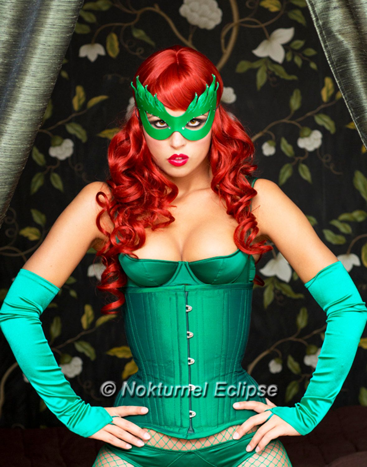 Poison Ivy Green Leather Mask Batman Female Villain Comic Con Sexy ...