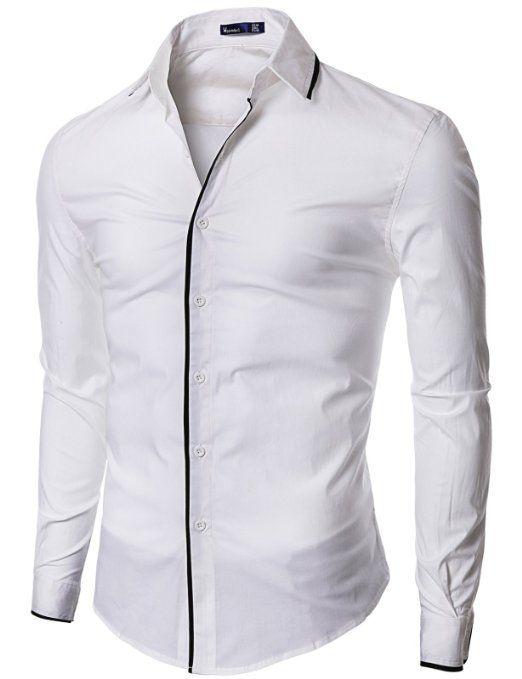 07091509be Amazon.com  Doublju Mens Dress Shirt with Slim Fit  Clothing