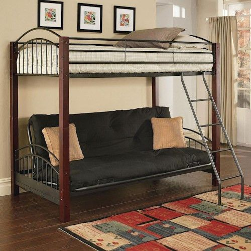 Acme Furniture Jenell Twin Over Futon Bunkbed W Wood Posts