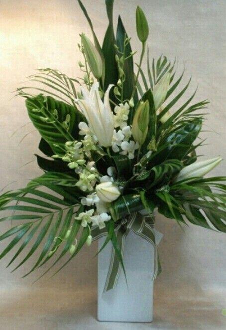 White Amp Green Floral Design Flower Arrangements