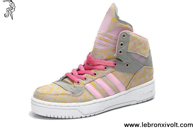 Latest Listing Cheap Girl's Adidas X Jeremy Scott Big Tongue Shoes Pink Yellow Your Best Choice