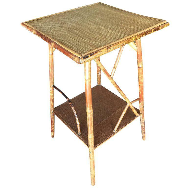 Restored Tiger Bamboo Pedestal Side Table With Organic Formed