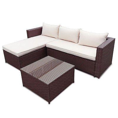 POLY RATTAN Garten Lounge Gartenset Braun Garnitur Polyrattan - lounge gartenmobel gunstig