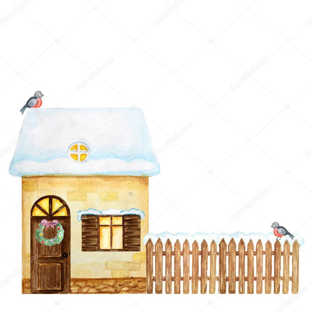 Cartoon winter yellow house brown wooden fence with snow