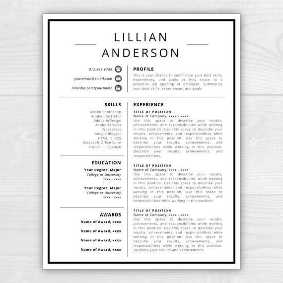 1 Page Resume Template With Icons For Microsoft Word Mac Pages