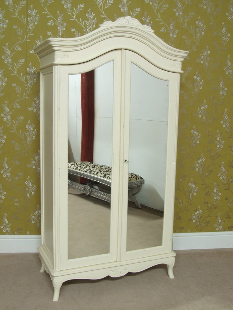 French Shabby Chic 2 Door Rococo Wardrobe Armoire Cream Painted