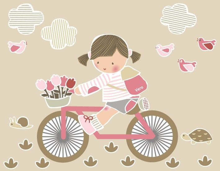 Vinilos infantiles ni a en bici vinilo de corte piezas for Vinilos infantiles nina