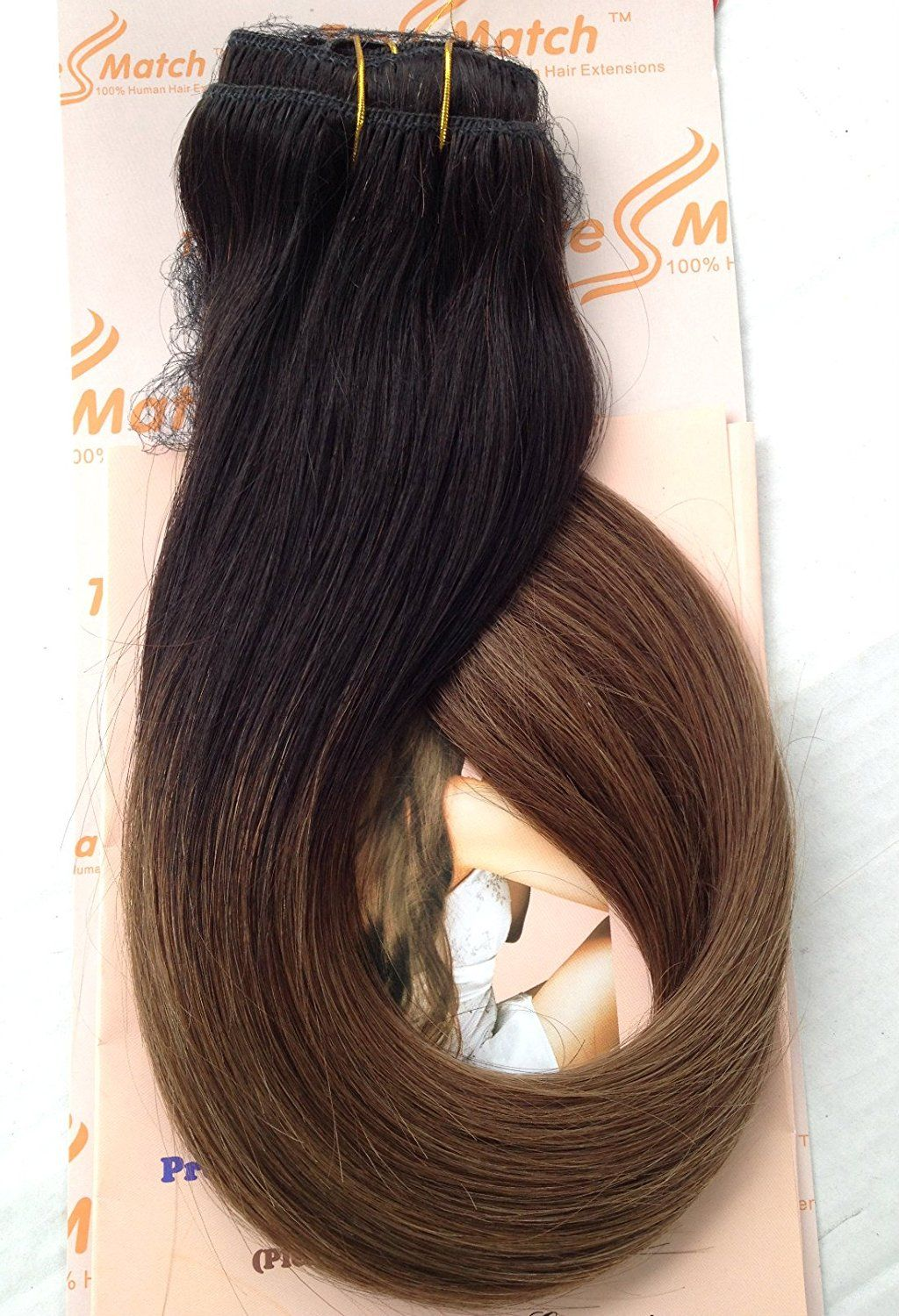 Tressmatch 1618 Remy Human Hair Clip In Extensions Ombre Off