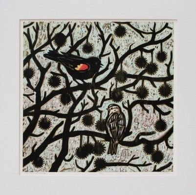 Sweet Gum Encounter woodcut by Kent Ambler