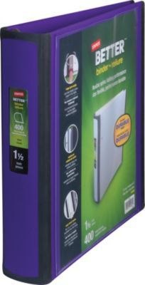 Staples Better View 1 5 Inch D 3 Ring View Binder Purple 19061 At Staples Binder College Binder D Ring Binder