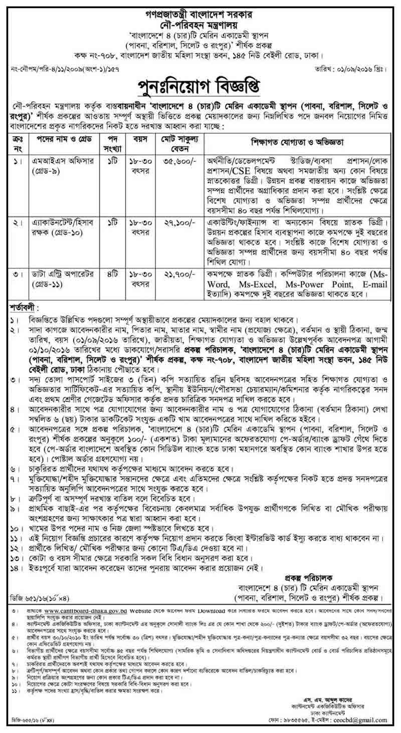 Accounted Ministry of shipping Jobs circular 2016 http