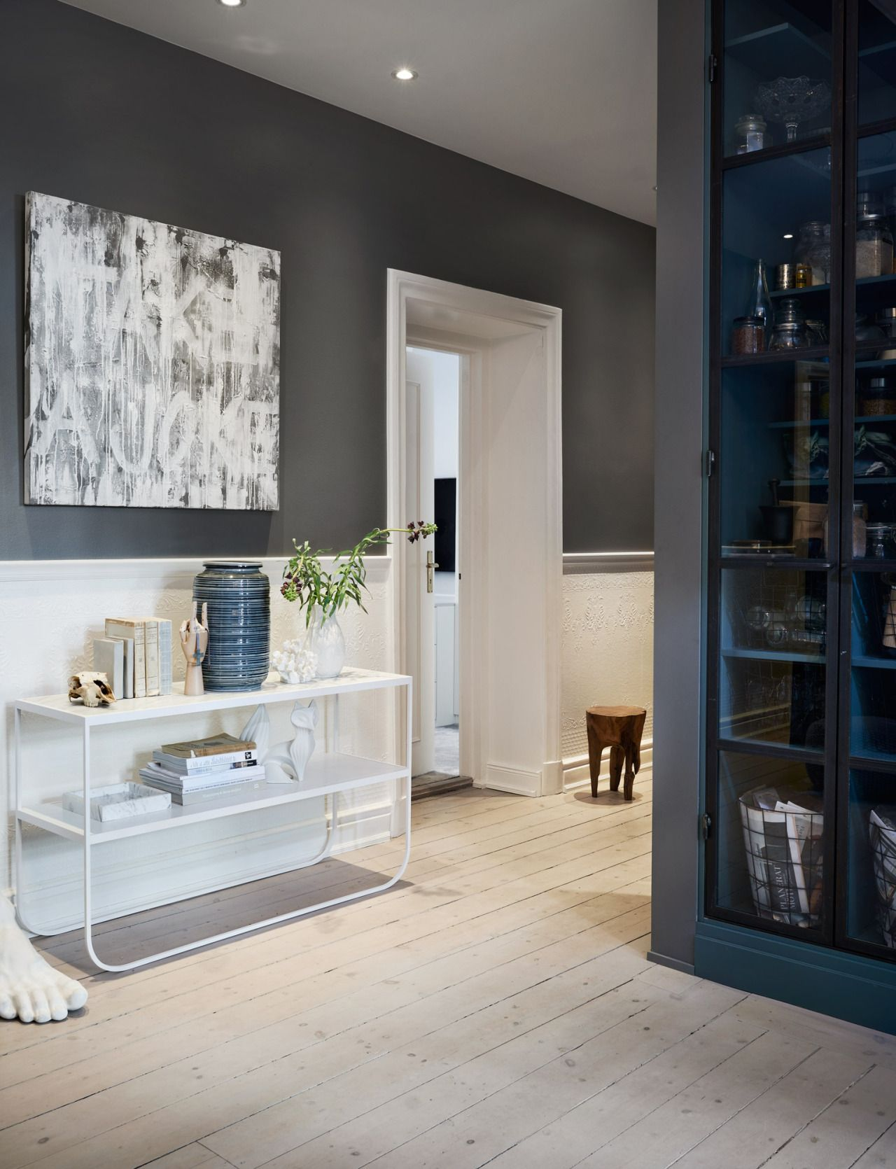 White And Grey Hallway Scandinavian Apartment Stockholm