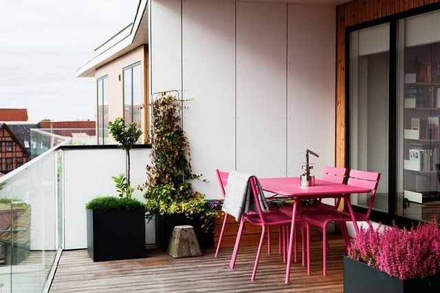 Pink patio furniture terrasse