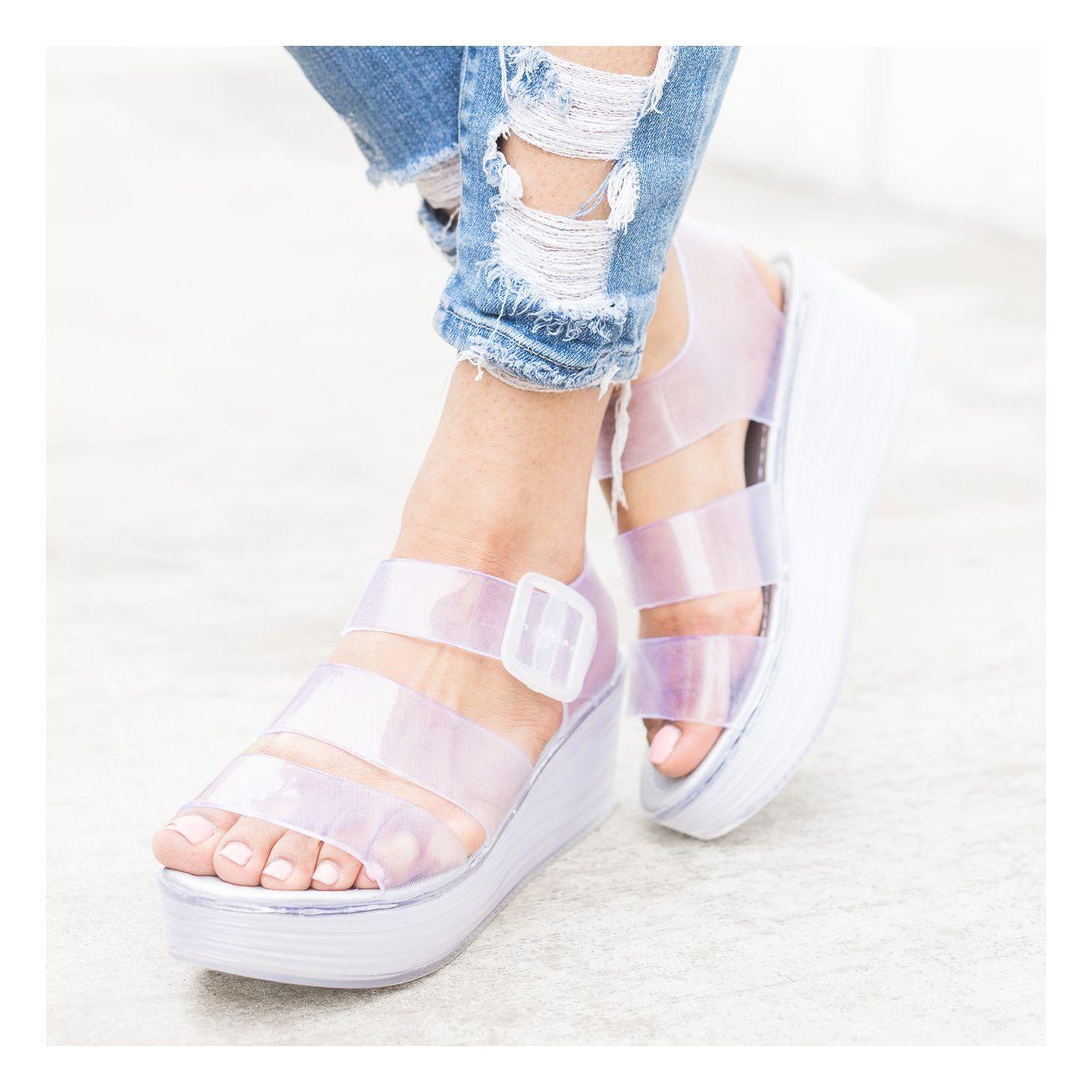 Clear Platform Jelly Sandal Wedges