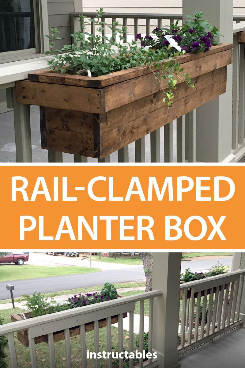 Simple Rail Clamped Planter Box Front Porch Flowers Planter
