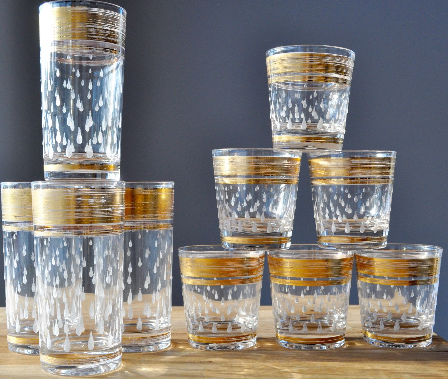 Beautiful Mid Century Modern Tumbler Set, Gold Guilded, Etched Glass, Vintage Barware,  Highball, Lowball, Raindrop, Mad Men, Drinking Glasses