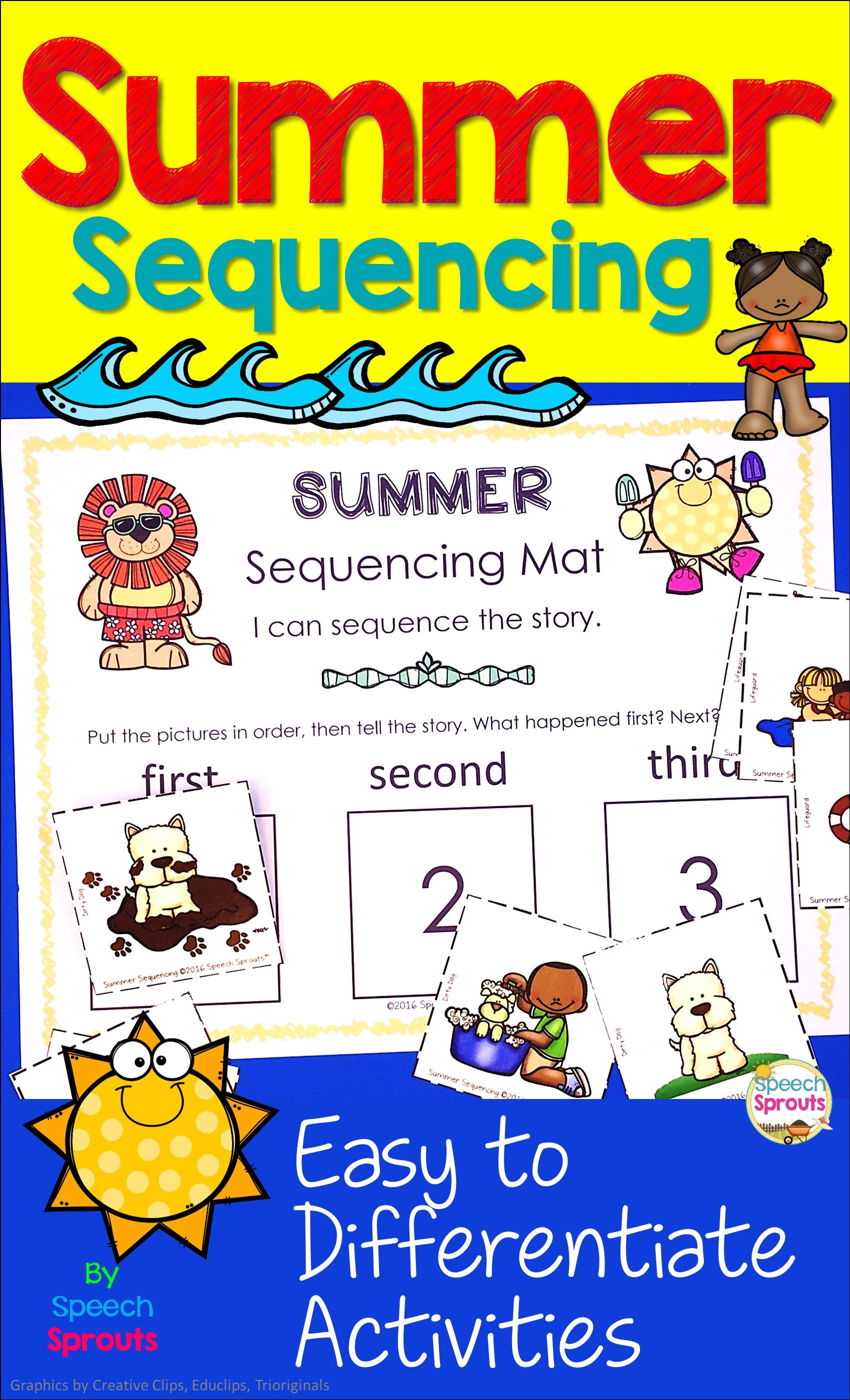Summer Sequencing Activities With Picture Stories Retell And Writing