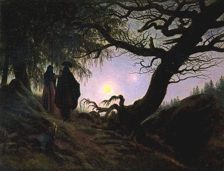 Hombre y mujer contemplando la luna. Friedrich. Alemania