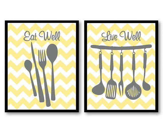 Yellow Gray Grey Eat Well Live Kitchen By Customartprints