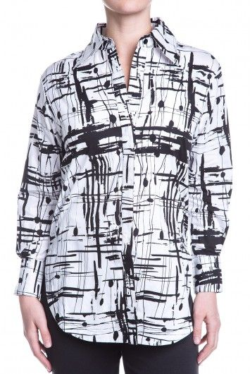 Type 4 Paint The Town Top - $39.97 You will be ready for a good time in this versatile top with its black and white painted plaid pattern. The loosely painted pattern gives a slap-dash feel to this otherwise streamlined top with its heavy, structured fabric and straightforward style. Wear as a jacket, shirt, or tunic top. Opaque. Unlined.