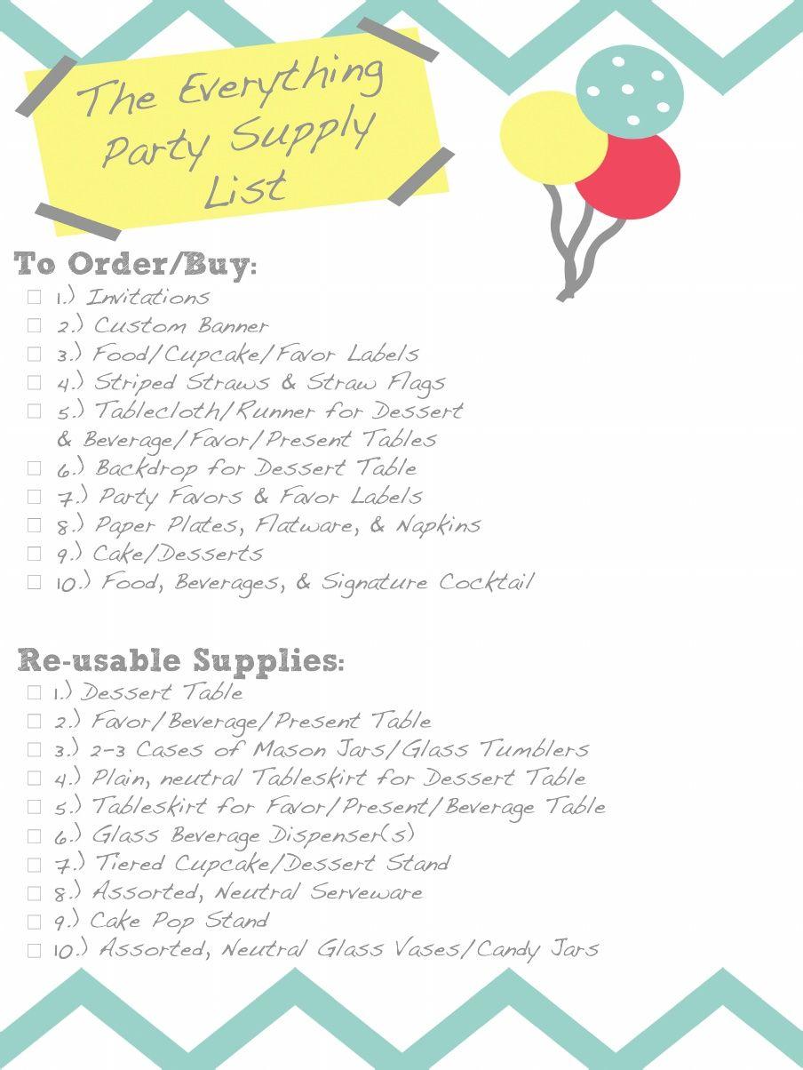 Party Supply Checklist Scribd Birthday party supplies