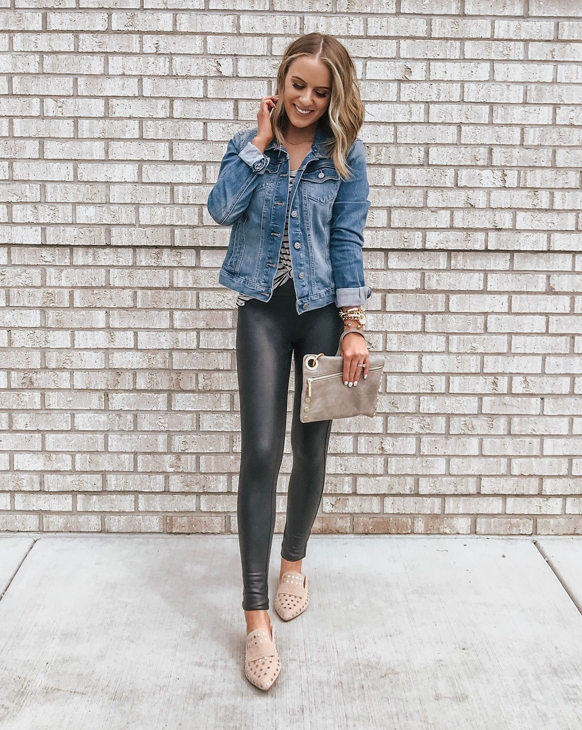 5281cd4fb5481c Love these faux leather leggings with the studded mules and denim jacket!